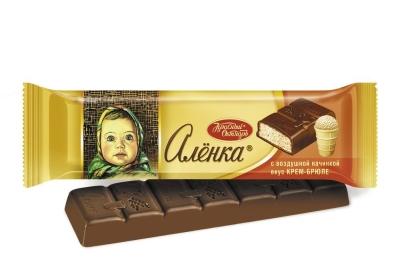 Шоколад Красный Октябрь Аленка с начинкой крем-брюле аэрир