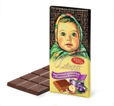 Шоколад Красный Октябрь Аленка с фундуком и изюмом