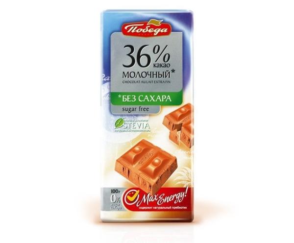 Шоколад Победа молочный без сахара 36% какао