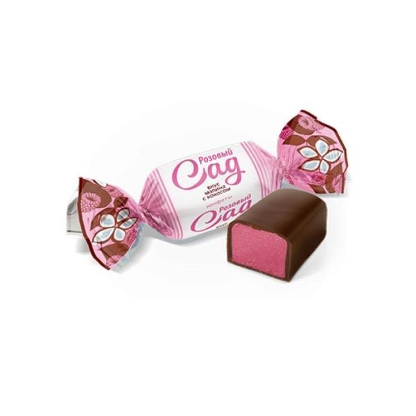 Конфеты Конти Розовый сад вкус малины с кокосом