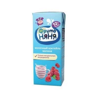 Коктейль молочный ФрутоНяня малиновый стерилизованный с массовой долей жира 2,1% для питания детей раннего возраста