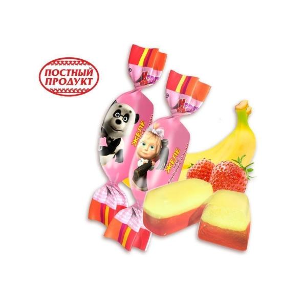 Конфеты Ламзурь Мультяшки Маша и Медведь желе вкус Клубника-Банан