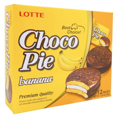 Печенье Лотте Чоко Пай прослоенное глазированное Банан