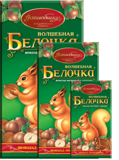 Шоколад Волшебница 'Волшебная Белочка' молочный с орехами