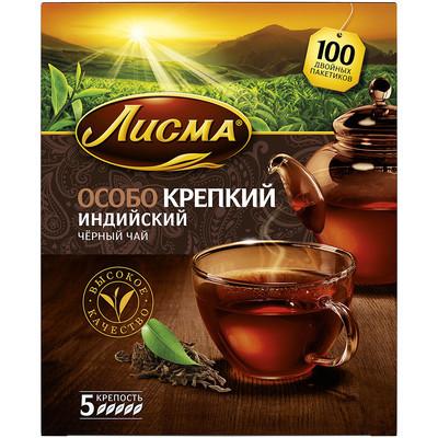 Чай черный Лисма особо крепкий (5 уровень крепости) 100 пак.