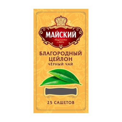 Чай черный Майский Благородный Цейлон 25 сашетов