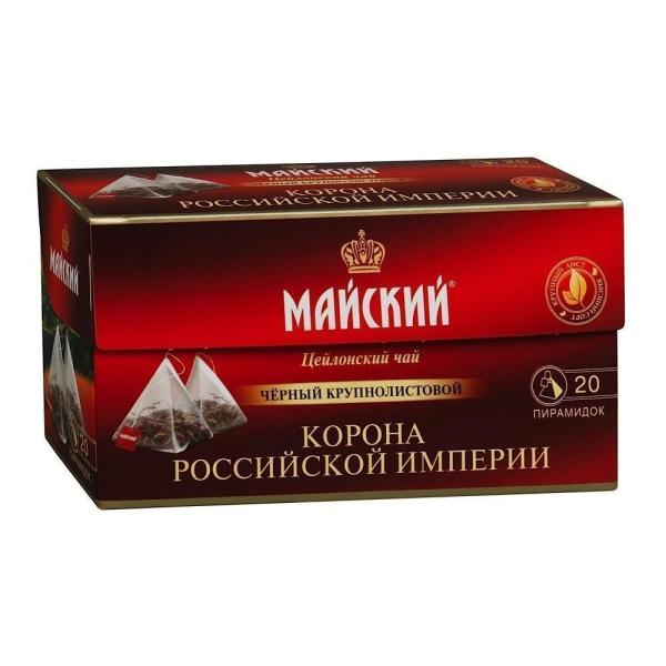 Чай черный Майский Корона Российской Империи 20 пирамидок