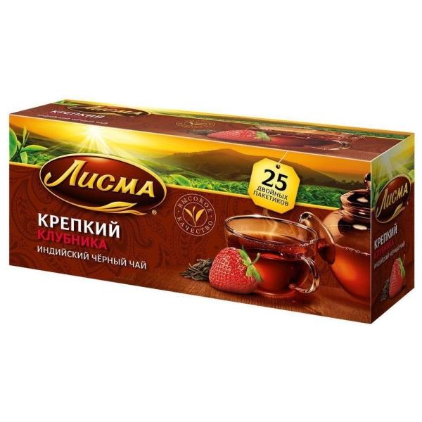 Чай черный Лисма крепкий с ароматом клубники (4 уровень крепости) 25 пак.