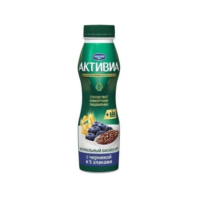 Биойогурт Активиа питьевой Черника, 5 злаков и Льняные семена 2,1%
