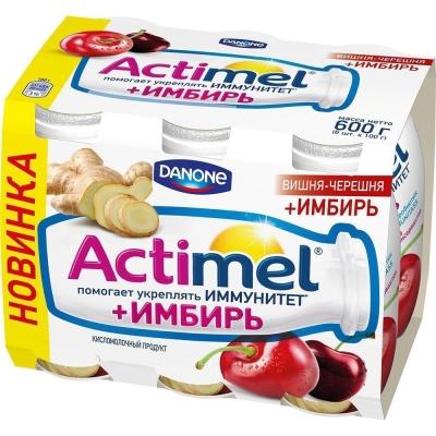 Продукт кисломолочный Актимель вишня-черешня-имбирь