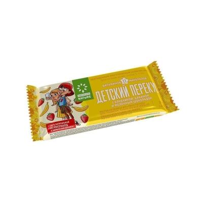 Батончик-мюсли 'Детский перекус' с клубникой, бананом и шоколадом