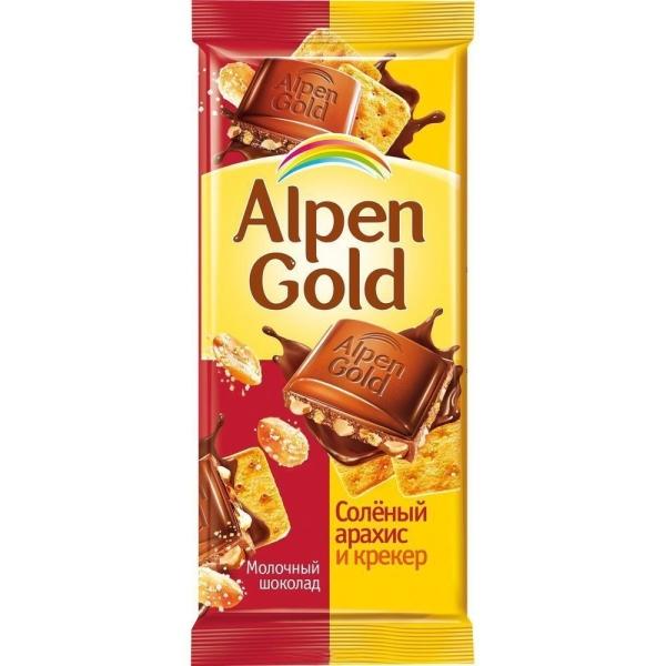 Шоколад Альпен Гольд молочный Соленый Арахис-Крекер