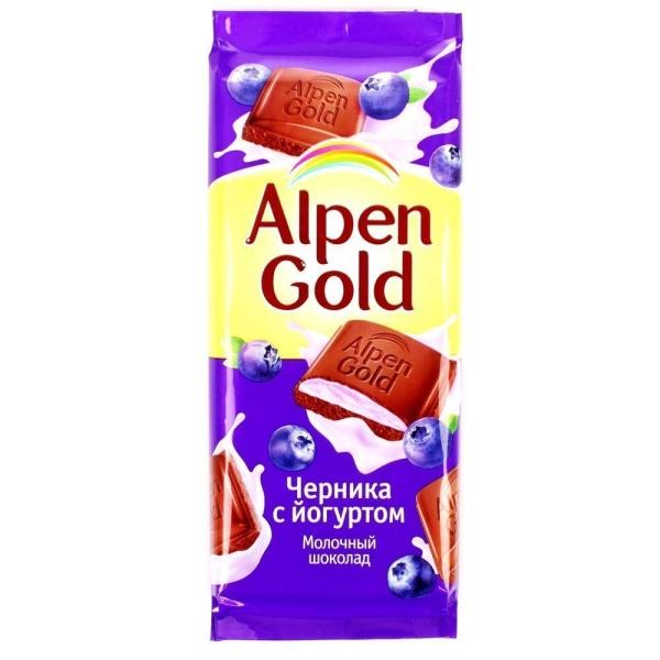 Шоколад Альпен Гольд молочный Черника-Йогурт
