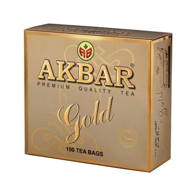 Чай Акбар Золотой 100пак с ярлыком