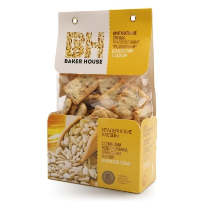 Хлебцы Итальянские Baker House с семенами подсолнечника, морская соль