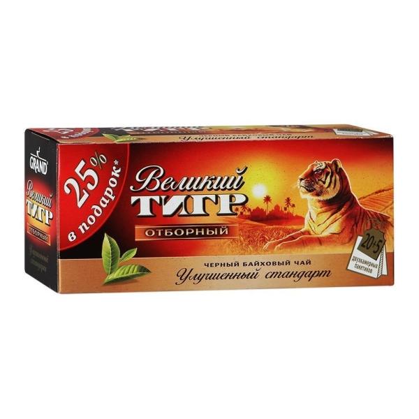 Чай Гранд Великий тигр 25 пак с ярлыком Индия