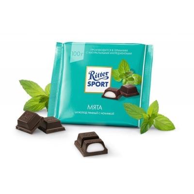 Шоколад темный Ritter Sport с мятной начинкой