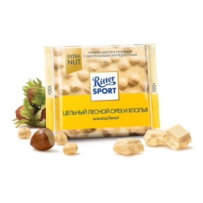 Шоколад белый  Ritter Sport Цельный лесной орех и хлопья