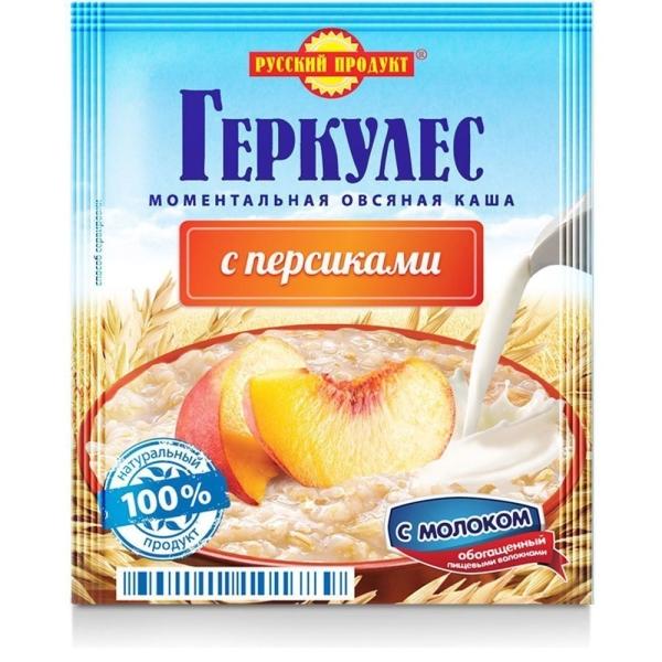 Овсяная каша моментальная Русский продукт Геркулес с персиками и молоком