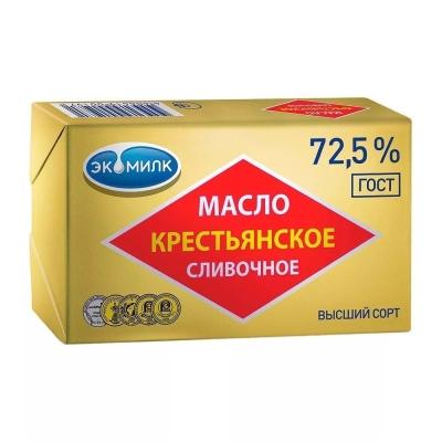 Масло 'Экомилк' Крестьянское сливочное 72,5%