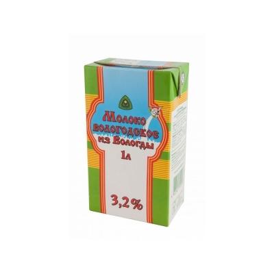 Молоко ультрапастеризованное 'Вологодское' 3,2%