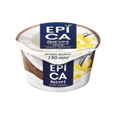 Йогурт 'EPICA' с КОКОСОМ и ВАНИЛЬЮ 6,3%