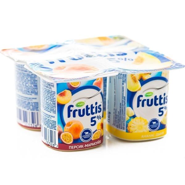Продукт йогуртный Фруттис 5% персик-маракуйя, ананас-дыня