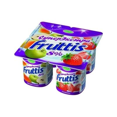 Продукт йогуртный Фруттис супер-экстра 8% клубика, яблоко-груша ванночки