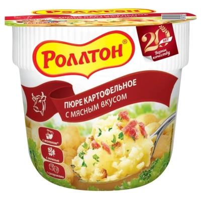 Пюре быстрого приготовления Роллтон с мясным вкусом стакан