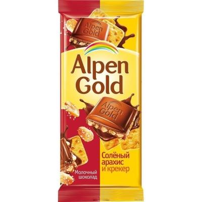Шоколад Аlpen Gold соленый арахис+крекер
