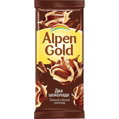 Шоколад Аlpen Gold тёмный + белый