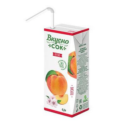 Сок ВкусноСок персиковый т/п