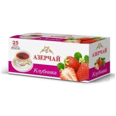 Чай черный расфасованный Азерчай клубника 25пак с конвертом
