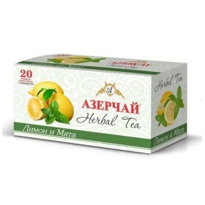 Чайный напиток расфасованный Азерчай лимон и мята 20пак