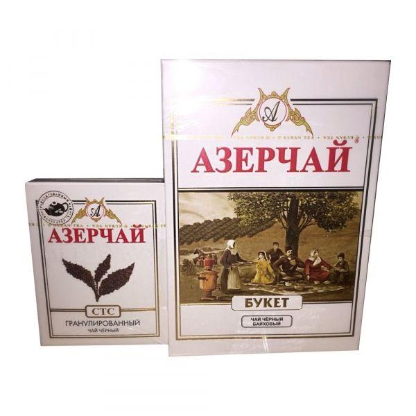 Чай черный Азерчай Букет крупнолистовой (картонная упаковка) + гранулированный чай СТС в подарок