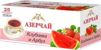Чай черный Азерчай байховый клубника-арбуз 25 пак с конвертом