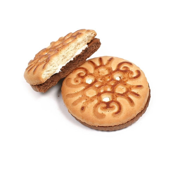 Печенье сахарное Белогорье Фифти-фифти с какао и банановой начинкой