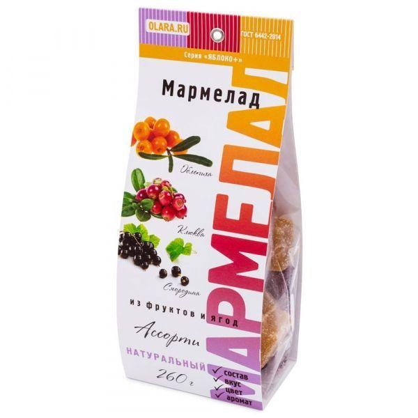 Мармелад фруктовый Олара Ассорти 3 (яблоко, смородина, облепиха, клюква)