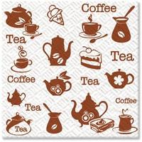 Салфетки Комфорт и семья 1-слойные 24*24, 100 штук, чай-кофе