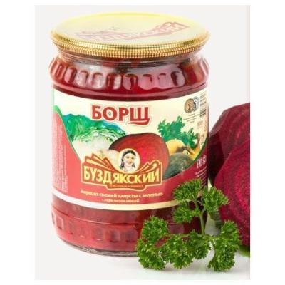Борщ Буздякский из свежей капусты с зеленью