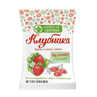 Карамель леденцовая Лакомства для здоровья без сахара на изомальте со вкусом клубники