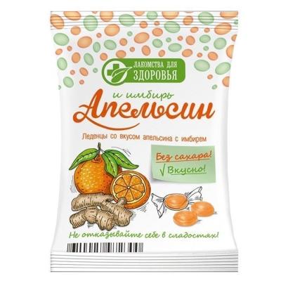 Карамель леденцовая Лакомства для здоровья без сахара на изомальте со вкусом апельсина с имбирем