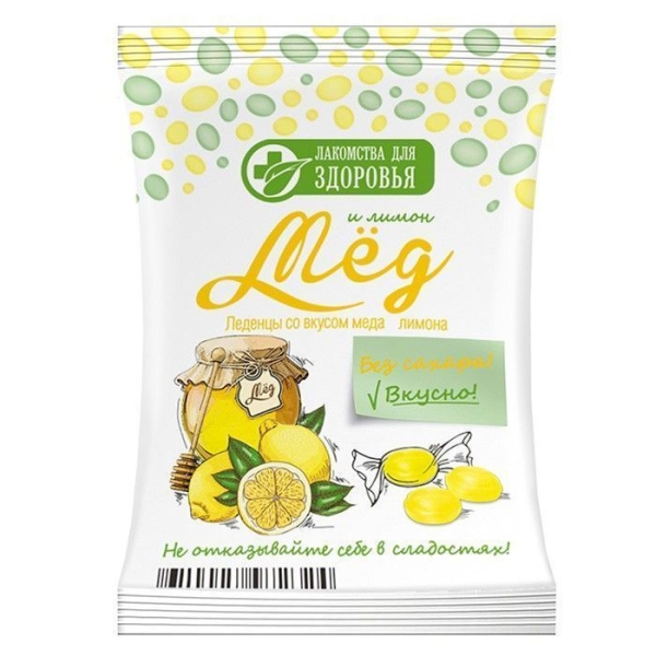 Карамель леденцовая Лакомства для здоровья без сахара на изомальте со вкусом меда-лимона