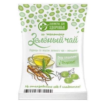Карамель леденцовая Лакомства для здоровья без сахара на изомальте со вкусом зеленого чая - женьшеня