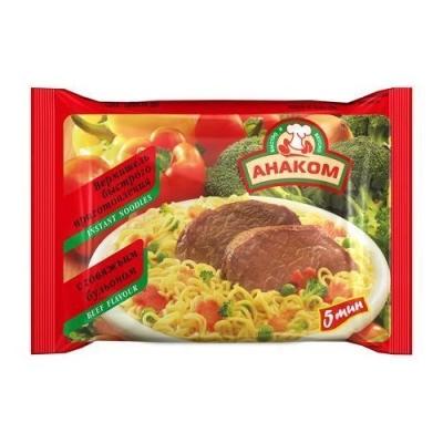 Вермишель Анаком быстрого приготовления с говяжьим бульоном (пакет)