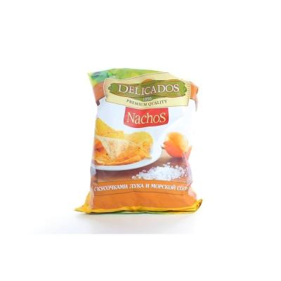 Чипсы Delicados кукурузные с кусочками лука и морской солью