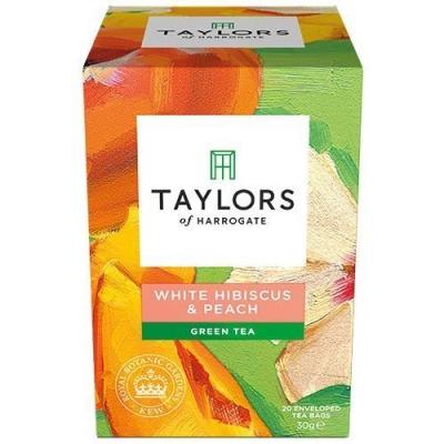 Чай зеленый листовой Taylors of Harrogate Белый гибискус и персик 20 пак.