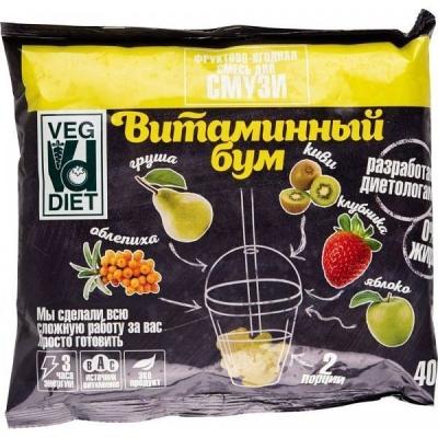 Смесь для смузи Veg Diet Витаминный бум фруктово-ягодная (клубника, яблоко, киви, облепиха, груша) замороженная