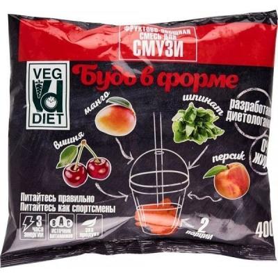 Смесь для смузи Veg Diet Будь в форме фруктово-овощная (персик, манго, шпинат, вишня) замороженная