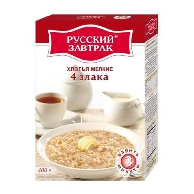 Хлопья 'Русский Завтрак' 4 злака мелкие (пшеничные, овсяные, ячменные, ржаные)